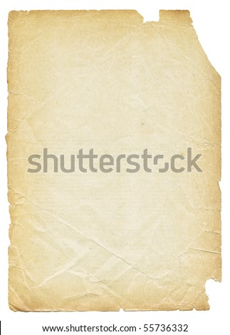 Old torn paper isolated on white background. - stock photo