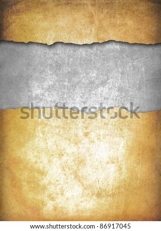 Old torn paper texture, scratched surface - stock photo