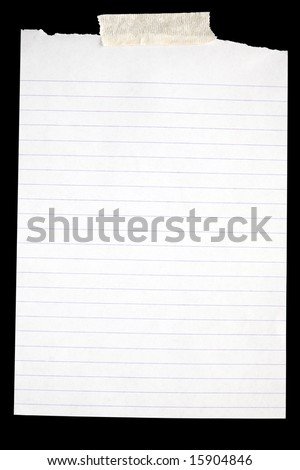 Old torn white lined paper stuck to a black background. - stock photo