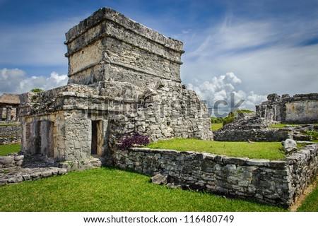 Old touristic ruins at Tulum, Mexico. Beautiful holiday destination. - stock photo