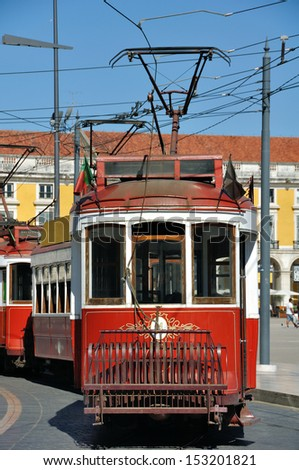 Old touristic tramway at the Comercio Square in Lisbon, Portugal