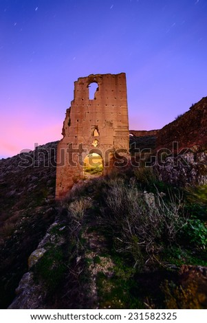 old tower in Castle of Xiquena, Lorca, Spain, Night photograph with lightpainting - stock photo