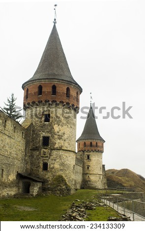 Old tower in Kamianets-Podilskyi  Ukraine - stock photo