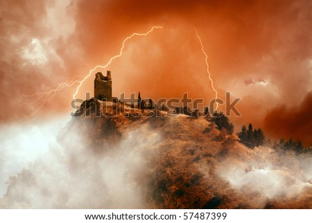 old tower on the mountain - stock photo
