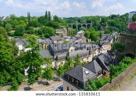 Old town and arch railway bridge in the City of Luxembourg - stock photo