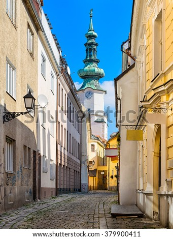 Old town and church in Bratislava, Slovakia - stock photo
