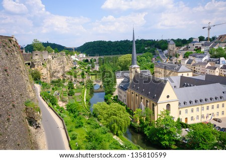 Old town and Fortifications in the City of Luxembourg - stock photo
