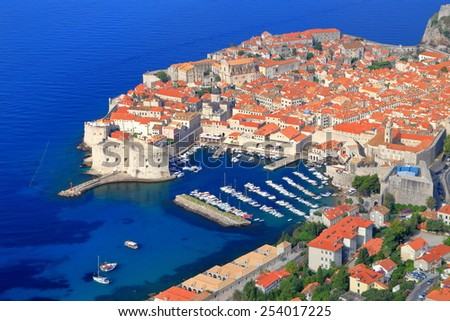 Old town and harbor of Dubrovnik surrounded by the Adriatic sea, Croatia