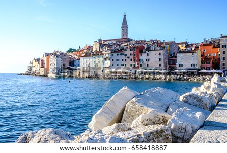 old town and harbor of rovinj in croatia
