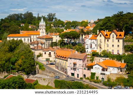 Old town and municipal building of Sintra,  Portugal, Europe - stock photo