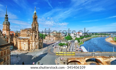 Old Town and of Katholische Hofkirche,Opera Semperoper, Dresden, Germany. Fly view. - stock photo