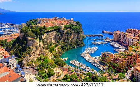 Old town and Prince Palace on the rock in Mediterranean Sea, Monaco, southern France - stock photo