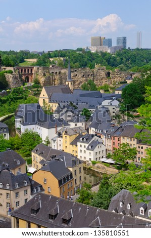 Old town and Skyscraper of Kirchberg district in the City of Luxembourg - stock photo