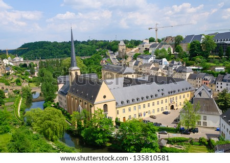 Old town and St.Jean Baptiste in the City of Luxembourg - stock photo
