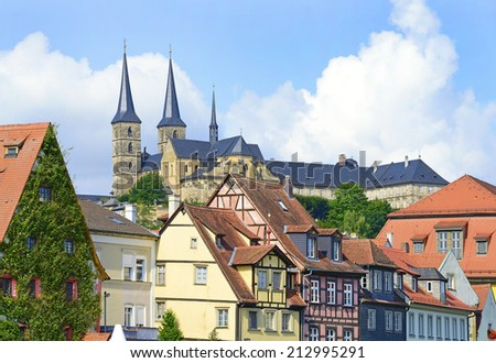 Old Town architecture with Michaelsberg Abbey in Bamberg, Germany. The historic center of Bamberg is UNESCO World Heritage Site - stock photo