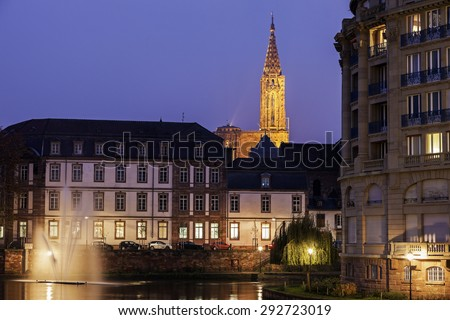 Old Town architecture with Strasbourg Minster. Strasbourg, Alsace, France - stock photo