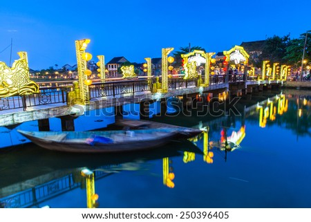 Old town at night, Hoi An, Vietnam. - stock photo