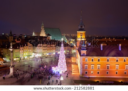 Old Town at night in Warsaw, Poland. - stock photo