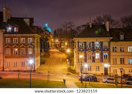 Old Town at night. Warsaw, Poland