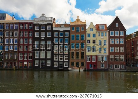 old  town canal of Amsterdam with historical houses, Netherlands