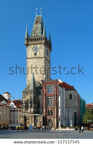 Old Town City Hall in Prague, view from Old Town Square, Czech Republic - stock photo