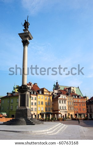 Old Town, column and statue of King Sigismund III Vasa one of the most famous landmarks in Warsaw, Poland - stock photo
