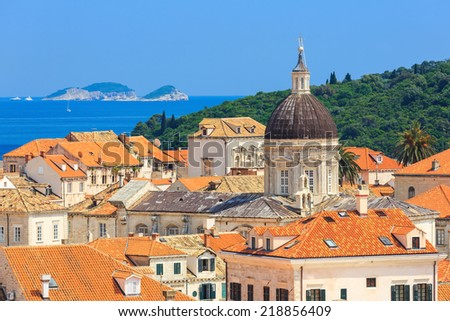 Old town Dubrovnik from the City Walls, Croatia - stock photo