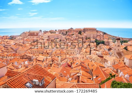 Old town Dubrovnik on sunny day from the roof - stock photo