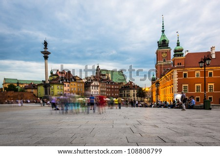 Old Town during sundown, Warsaw, Poland - stock photo