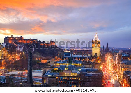 Old town Edinburgh and Edinburgh castle at night, Scotland UK - stock photo