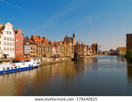 Old town embankment on Motlawa river , Gdansk, Poland - stock photo