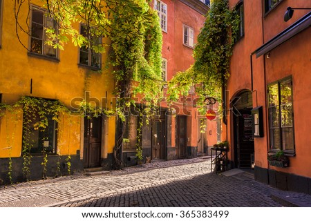 Old town - Gamla Stan, Stockholm, Sweden - stock photo