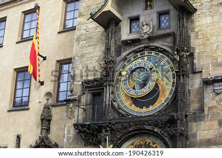 Old Town Hall and Astronomical Clock (Staromestska Radnice). Historical centre of Prague. - stock photo