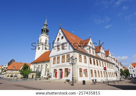old town hall and bell tower of St. Mary's Church, Celle, Lower Saxony, Germany, Europe - stock photo