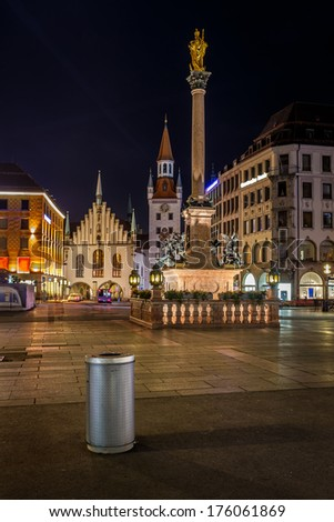 Old Town Hall and Marienplatz in Munich at Night, Bavaria, Germany - stock photo