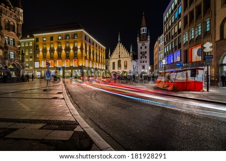Old Town Hall and Marienplatz in the Night, Munich, Bavaria, Germany - stock photo