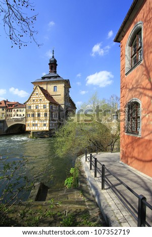 Old Town Hall, Bamberg, Bavaria, Germany on a little island in the river Regnitz - stock photo