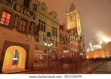 Old Town Hall building and traditional architecture inside Prague old town at night, Czech Republic
