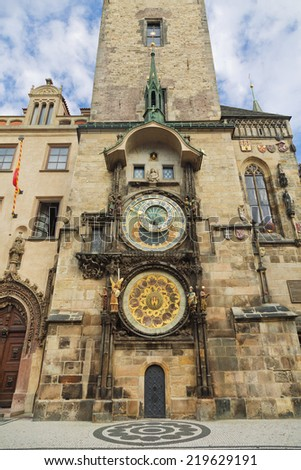 Old Town Hall Tower. Prague astronomical clock (Prague orloj).  - stock photo