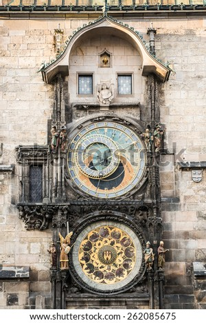 Old Town Hall Tower. Prague astronomical clock (Prague orloj) - stock photo