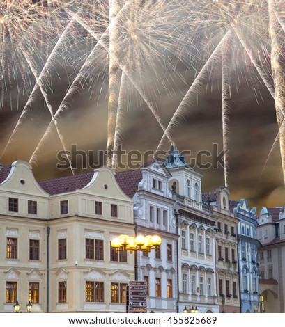 Old town houses and holiday fireworks in Prague, Czech Republic