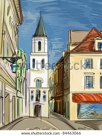 old town - illustration - stock photo