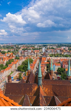 Old Town in Gdansk, aerial view from cathedral tower, Poland