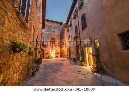 Old town in Italy, Pienza, Tuscany - stock photo