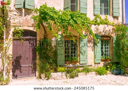 Old town in provence - stock photo