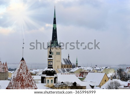 Old town in Tallinn during a gray winter day - Estonia - stock photo