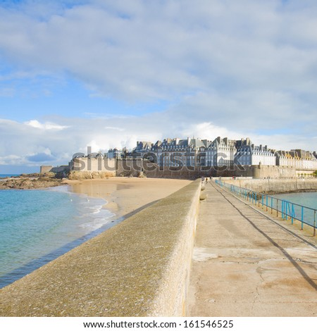 old town 'Intramuros' of  Saint Malo, Brittany, France - stock photo