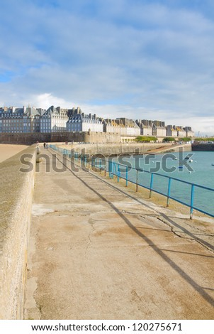 old town 'Intramuros' of  Saint Malo from the pierce, Brittany, France - stock photo