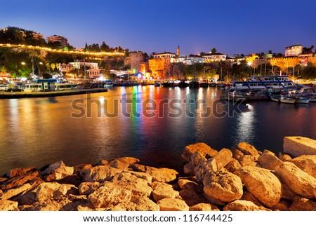 Old town Kaleici in Antalya, Turkey at night - travel background - stock photo