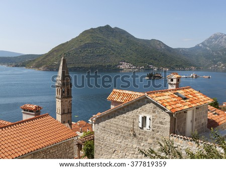 Old town landscape with roofs, Perast, Kotor Bay, Montenegro - stock photo